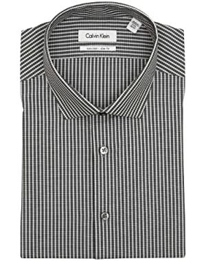 Calvin Klein Mens Dark Gray Check Slim Fit Cotton Dress Shirt - Size 17.5 34/35