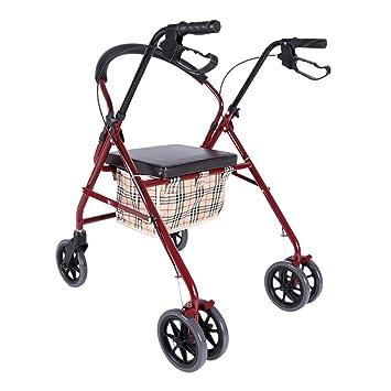 Andador con ruedas para trabajo pesado con asiento, movilidad móvil con movimiento rodante tiene 6