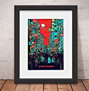 Quadro Decorativo Poster Blade Runner Filme Vidro Anti-Reflexo & Paspatur 46x
