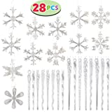 JOYIN 28 Pcs Collectable 2.4' Glass Iridescent Snowflake and Icicle Ornaments for Chirstmas Tree Decorations with Bonus Pakcage Boxes by Joiedomi