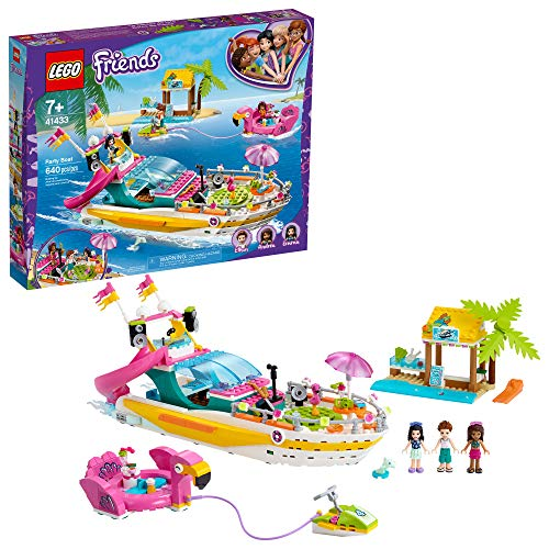 LEGO Friends Party Boat 41433 Including LEGO Friends Emma, Andrea and Ethan Mini-Doll Figures, Beach Store and Flamingo Party Boat, Great Summer Toy for Kids, New 2020 (640 Pieces)