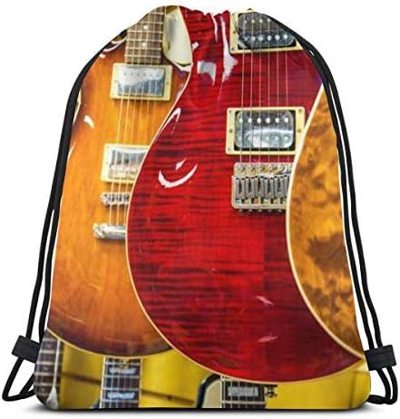 エレキギターユニセックスドローストリングバッグジムバックパックバッグトラベルバッグハイキングスイミングヨガ36 x 43cm
