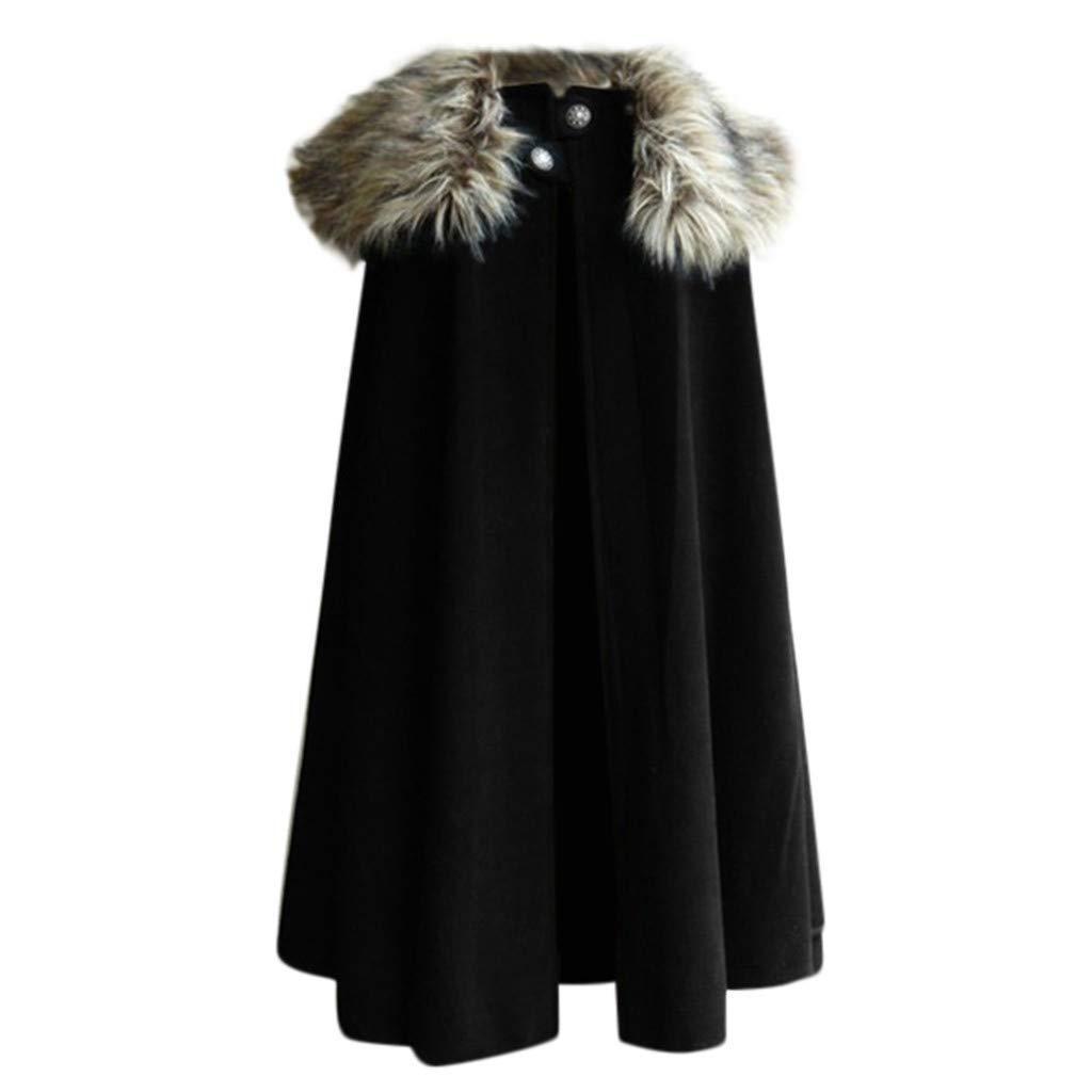 F_Gotal Mens blazer Black Winter Warm Gothic Wool Faux Fur Collar Long Cape Cloak for Men by F_Gotal Mens blazer