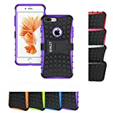 iPhone 8 Plus Case, iPhone 7 Plus Case, HLCT Rugged Shock Proof Dual-Layer Case with Built-In Stand Kickstand (Purple)