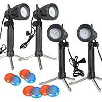 Slow Dolphin 4 Sets Continuous 600 Lumen LED Portable Light Lamp for Table Top Photography Photo Studio with Color Filters