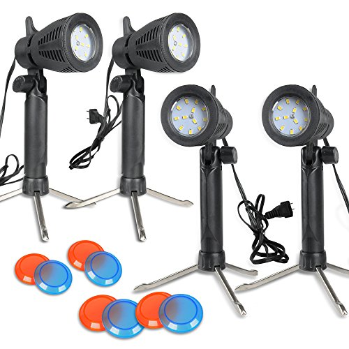 (Slow Dolphin Photography Continuous 48 LED Portable Light Lamp for Table Top Photo Studio with Color Filters-4 Sets)