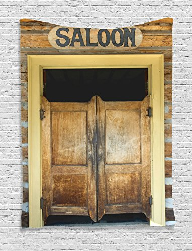 Ambesonne Saloon Decor Collection, Authentic Saloon Doors Of Old Western Building In Montana Ghost Town Image Print, Bedroom Living Room Dorm Wall Hanging Tapestry, Sienna Cream Brown