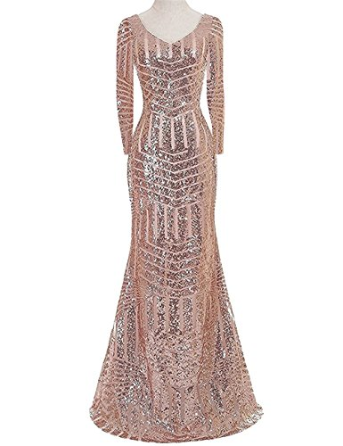 Sleeve Long Women's B gold Prom Mermaid Long Formal Gown Scoop YSMei Pink Sequins Dresses YPM03 Evening 7wqn5