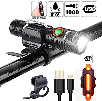 Juego de luces LED para bicicleta, 1000 lúmenes, luz brillante ...
