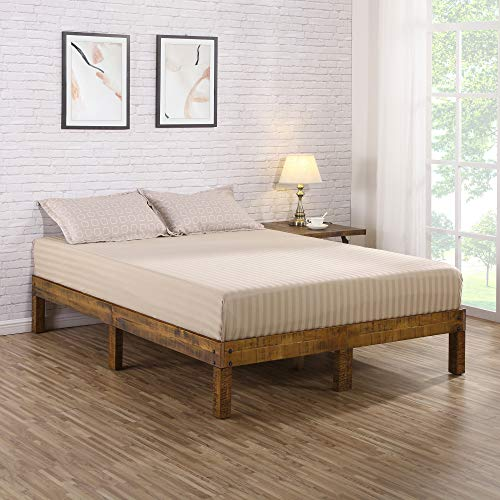 Olee Sleep VC14SF01Q 14 inch Solid Wood Platform Bed/Natural Finish, 14SF01Q, Brown