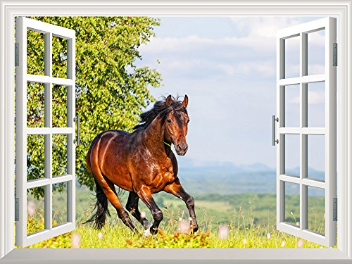 Removable Wall Sticker Wall Mural Brown Horse Running on the Meadow Creative Window View Wall Decor