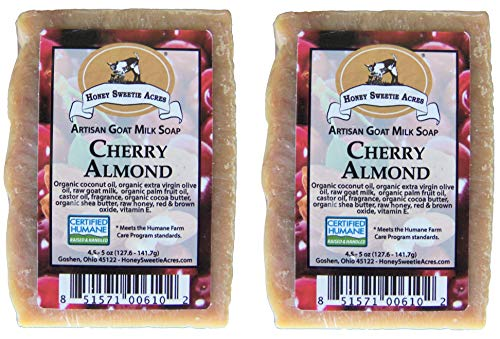 Premium Handcrafted Artisan Goat Milk Soap - FEELS SO WONDERFUL on your skin that 4 out of 5 customers come back! (Cherry Almond (2-pack))