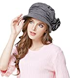 Urban CoCo Women's Wool Blend Foldable Cloche Bucket Winter Hat with Flower Accent