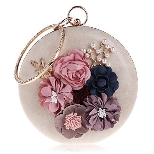 Kofun Borsa da sera per donna, borse per la festa nuziale Borsa a tracolla per matrimonio con fiore rotondo chic per donna Albicocca