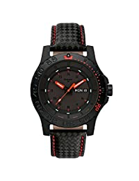 Traser 105502 Men's Professional Type 3 Red Combat Black Dial Black Leather Strap Dive Watch