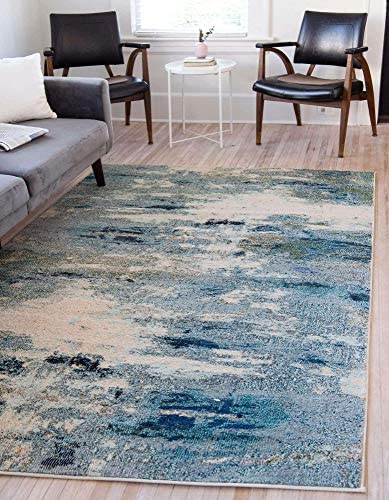 Unique Loom Chromatic Collection Abstract Modern Light Blue Area Rug 6' 0 x 9' 0