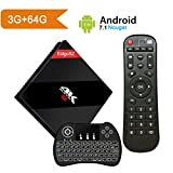 EstgoSZ [Powerful 3GB/64 GB] Android 7.1 TV BOX with Wireless Backlit Keyboard, Smart Google TV Box 3G/64G Amlogic S912 Octa Core 64 bits with Dual Band WIFI 1000M LAN, 2018 Top Android Tv Box