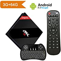 [Powerful 3GB / 64 GB] Android 7.1 TV BOX with Wireless Backlit Keyboard, EstgoSZ Smart Google TV Box 3G/64G Amlogic S912 Octa Core 64 bits with Dual Band WIFI 1000M LAN, 2017 Top Android Tv Box