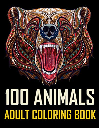 100 Animals: An Adult Coloring Book with Lions, Elephants, Zebra, Owls, Ilama, Koala, Wolfs, Horses, Dogs, Cats, and Many - Zebra Coloring Book
