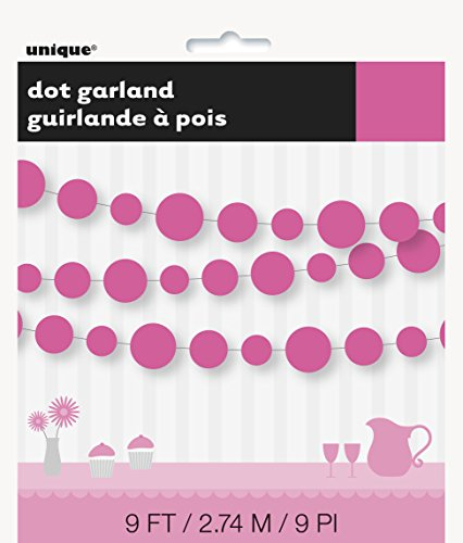 9ft Paper Hot Pink Circle Garland