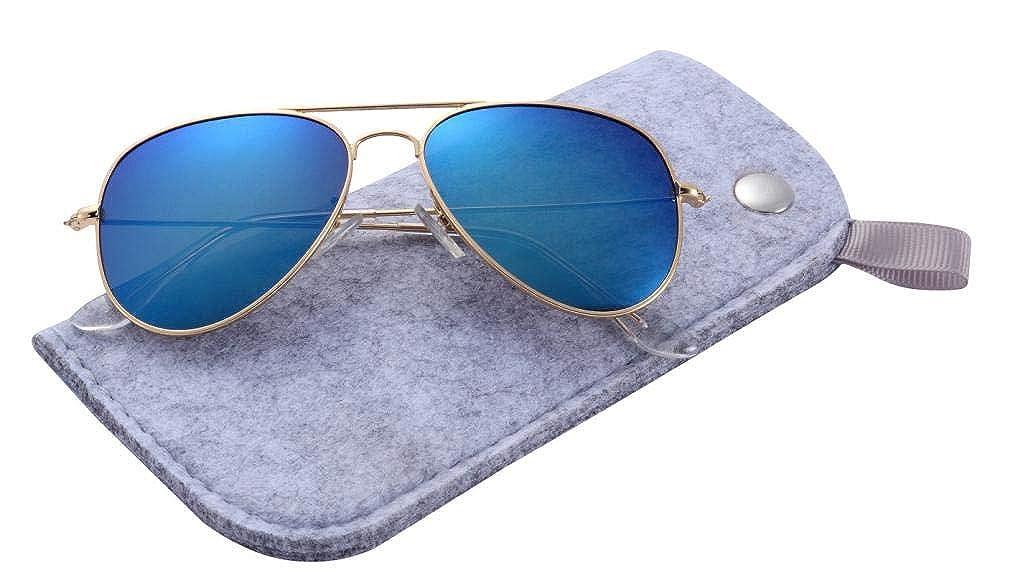 Wodison Children Mirrored Aviator Polarized Sunglasses With A Soft Felt Pouch