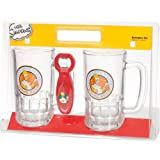 United Labels 117605 - Set di 2 boccali da birra The Simpons con apribottiglie, 2 x 540 ml