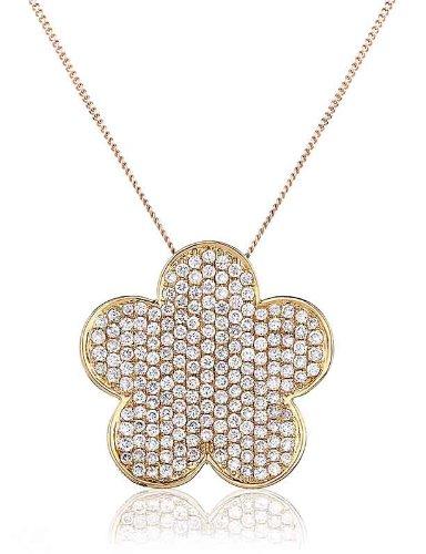 0.70CT Certified G/VS2 Round Brilliant Cut Micro Set Flower Shape Diamond Pendant in 18K Yellow Gold
