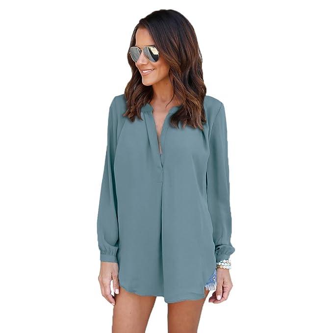 SODIAL Nuevo Chaqueta de Mujer de Moda de Primavera Otono Blusa de V-Cuello de