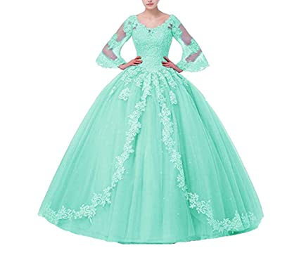 c9d8509b20e FWVR Women s Appliques Long Sleeves Ball Gown Sweet 16 Quinceanera Prom Dresses  Plus Size Aqua2
