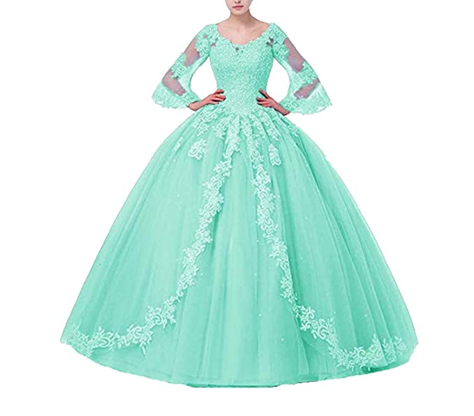 FWVR Women\'s Appliques Long Sleeves Ball Gown Sweet 16 Quinceanera Prom  Dresses Plus Size
