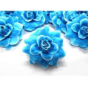 "(24) Silk Blue Diamond Roses Flower Head - 1.75"" - Artificial Flowers Heads Fabric Floral Supplies Wholesale Lot for Wedding Flowers Accessories Make Bridal Hair Clips Headbands Dress 4"