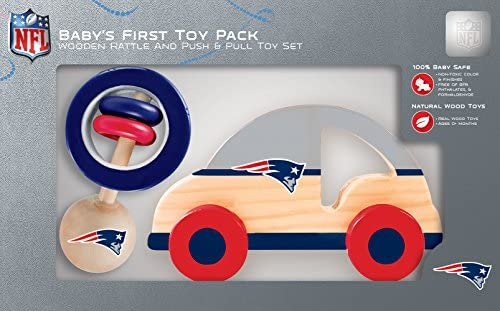 MasterPieces NFL New England Patriots Natural Wood Non-Toxic BPA Phthalates & Formaldehyde Free Push - Pull Toy & Baby Rattle Combo Set 2 Pieces