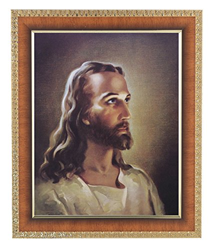 Sallman Head of Christ Print in Lacquered Tiger Cherry Finished Frame with Gold Edges