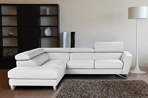 Sparta Italian Leather Sectional Sofa in White