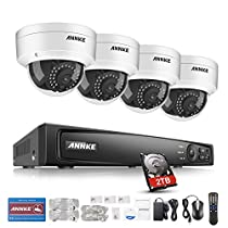 ANNKE 1080P True PoE Surveillance Camera System 4CH 6.0MP NVR Recorder with 2TB Hard Drive Included and (4) 1920TVL 2.0MP Security Cameras, IP66 Weatherproof Metal Housing