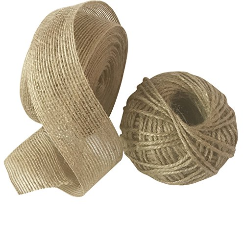 Captank Burlap Ribbon Roll Natural Burlap Fabric 1.5'' /4cm, Long 10 Yard with Bonus 50 Yard Jute Twine For Wedding, Party, Home Decor, Bows, Gift Wrap, DIY Crafts by Captank