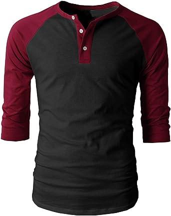 Cyiozlir - Camiseta de Manga Larga para Hombre, Manga 3/4, Cuello tunecino con botón de béisbol: Amazon.es: Ropa y accesorios