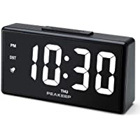 PEAKEEP Night Light Digital Alarm Clock with USB Charger and Dimmer (White LED)