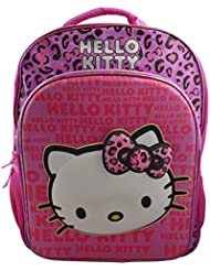 Hello Kitty Girls 15.5 3D School Backpack Travel Bag with Rain Hood