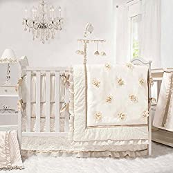 Juliette White, Ivory and Gold 5 Piece Baby Crib Bedding Set for girls by The Peanut Shell