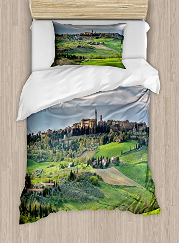 (Lunarable Florence Duvet Cover Set, Spring Landscape of Tuscany Aerial Photo Medieval Town of Pienza with Grassy Land, Decorative 2 Piece Bedding Set with 1 Pillow Sham, Twin Size, Multicolor)
