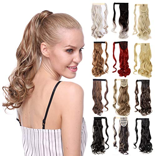 17-26 Inch Straight Curly Wavy Wrap Around Ponytail Hair Extension Clip in One Piece Synthetic Hairpiece for Women-ash blonde mix bleach blonde-curly