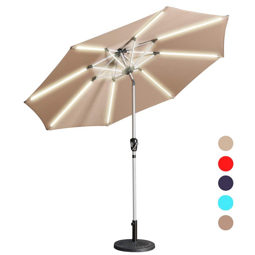 Amazon.com: Aok Garden Sombrilla de mesa con luz LED para ...