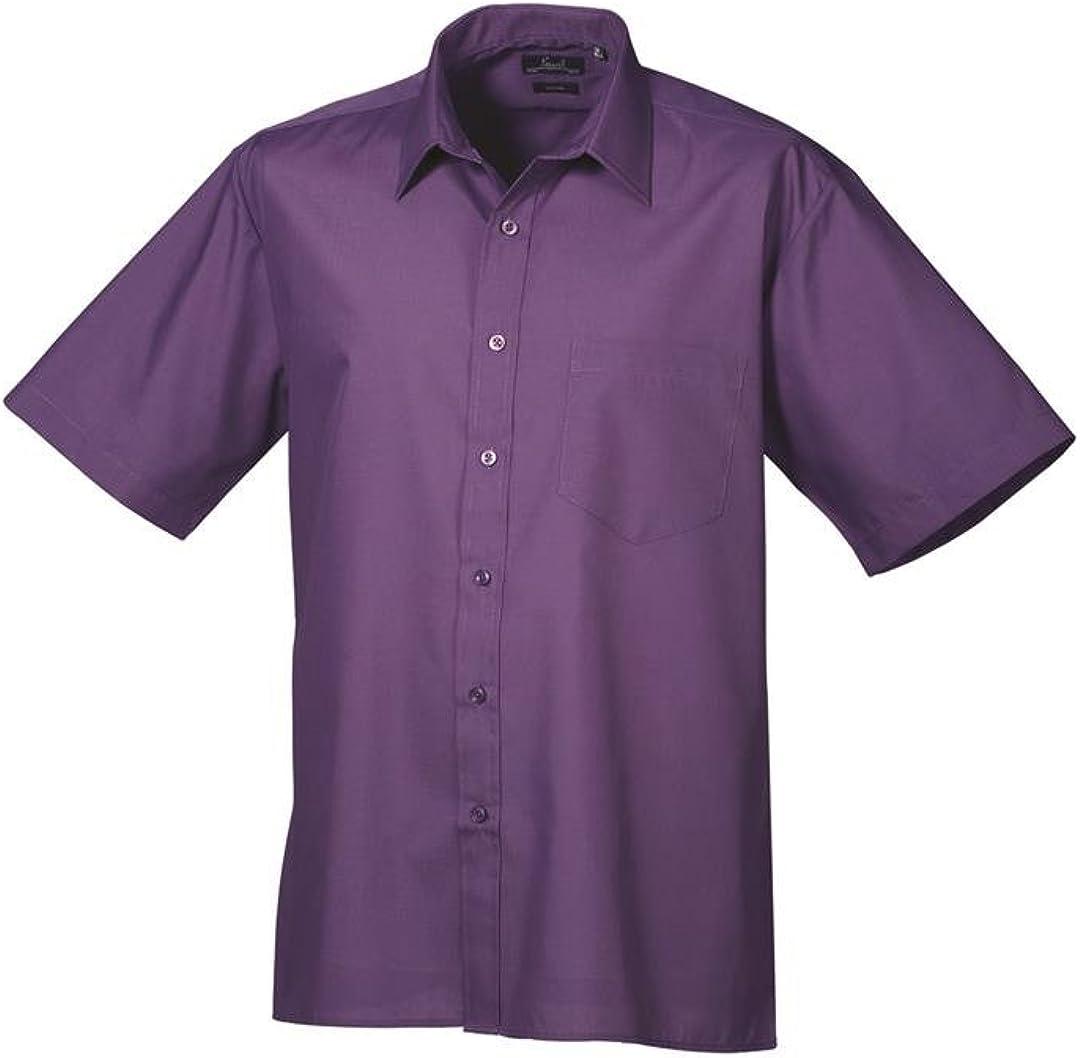 Premier Camisa de manga corta de popelina formal para hombres morada 17.5: Amazon.es: Ropa y accesorios