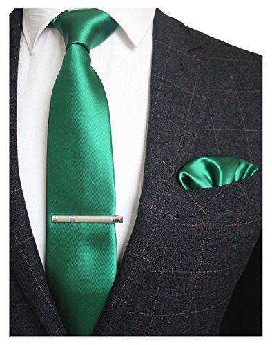 JEMYGINS Mens Formal Green Necktie and Pocket Square, Hankerchief and Tie Bar Clip Sets (Clip Green Tie Clip)