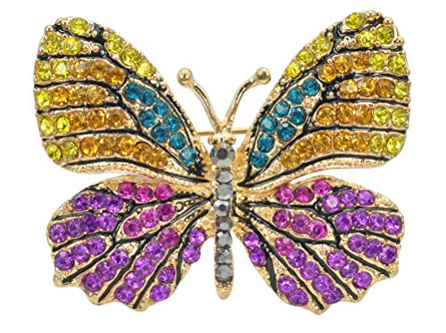 Gyn&Joy Empress Monarch Multi-Color Crystal Rhinestone Winged Butterfly Pin Brooch