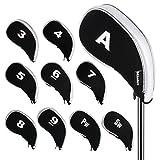 Andux New Design Golf Iron Head Covers with Zipper 10pcs/set MT/YB03 Black/white
