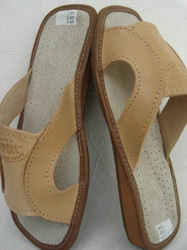 Sommerliche Hausschuhe - Latschen -Pantolette Gr.36, Echt LEDER, Bequem&Leicht *Patches*(Made in Poland)