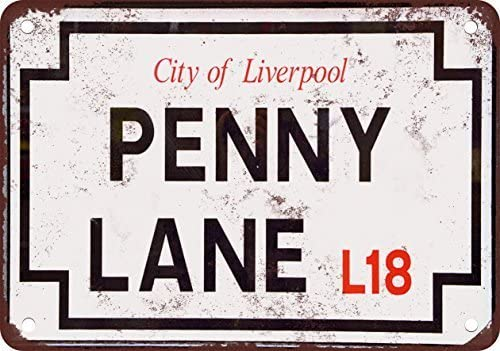 None Brand Beatles Penny Lane Plaque de rue vintage en m/étal
