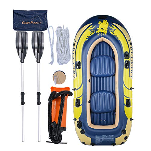 Pinleg 3-4 Person Inflatable Boat Kayak for Adults Inflatable Raft for Fishing Drifting Diving with Aluminum Oars and High Output Air Pump